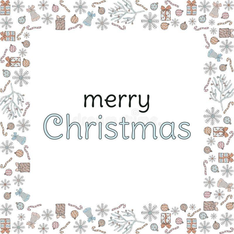vektor för illustration för banerjul eps10 Fyrkantig ram av klotter Snöflingor gåvor, klockor, julbollar, julgranfilialer med bol royaltyfri illustrationer