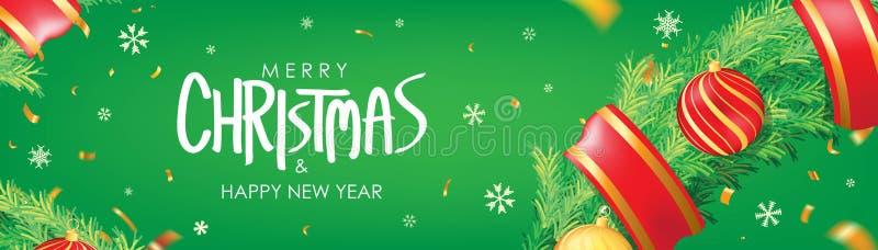vektor för illustration för banerjul eps10 Grön julbakgrund med julbollar, snöflingor och guld- konfettier Horisontaljulaffisch,  stock illustrationer
