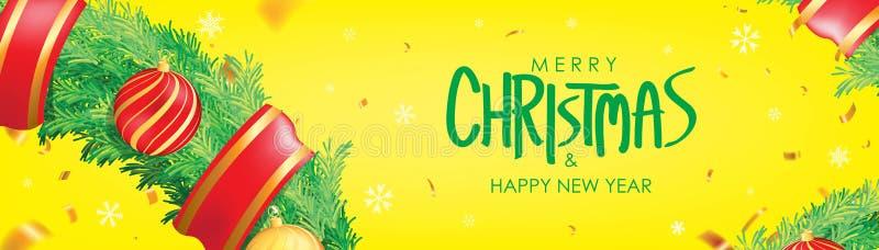 vektor för illustration för banerjul eps10 Gul julbakgrund med julbollar, snöflingor och guld- konfettier Horisontaljul affisch,  stock illustrationer