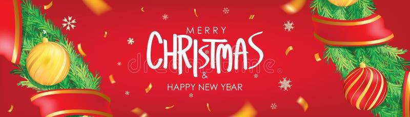 vektor för illustration för banerjul eps10 Röd julbakgrund med julbollar, snöflingor och guld- konfettier Horisontaljulaffischen, vektor illustrationer