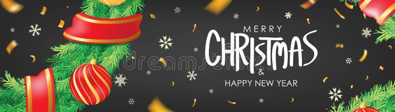 vektor för illustration för banerjul eps10 Svart julbakgrund med julbollar, snöflingor och guld- konfettier Horisontaljulaffisch, royaltyfri illustrationer
