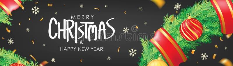 vektor för illustration för banerjul eps10 Svart julbakgrund med julbollar, snöflingor och guld- konfettier Horisontaljulaffisch, stock illustrationer