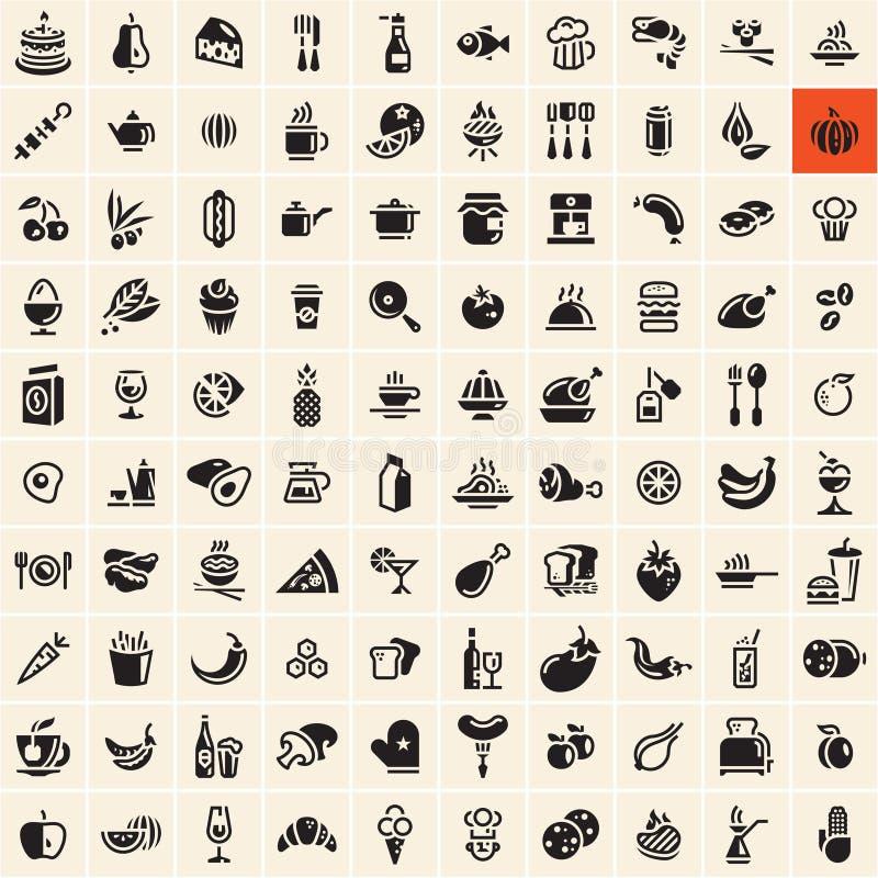 vektor för illustration för designmatsymboler dig Inställda mat- och drinksymboler vektor illustrationer