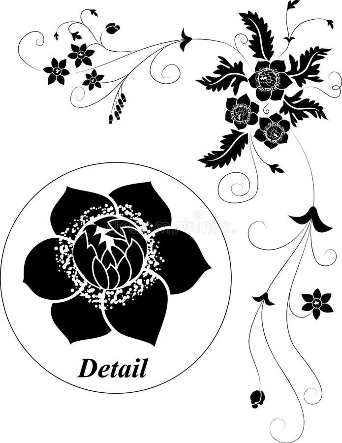 vektor för illustration för designelementblomma royaltyfri illustrationer