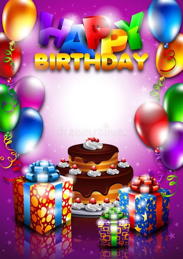vektor för illustration för födelsedagkortdag royaltyfri illustrationer