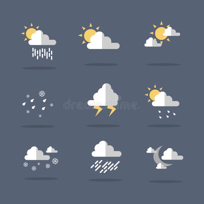 Vektor för illustration för vädersymbolsuppsättning vektor illustrationer