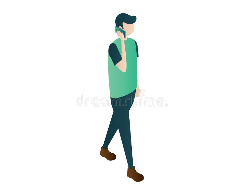 Vektor för illustration för mobiltelefon för appell för manman isometrisk, isometriska män, isometriskt folk, stående män vektor illustrationer