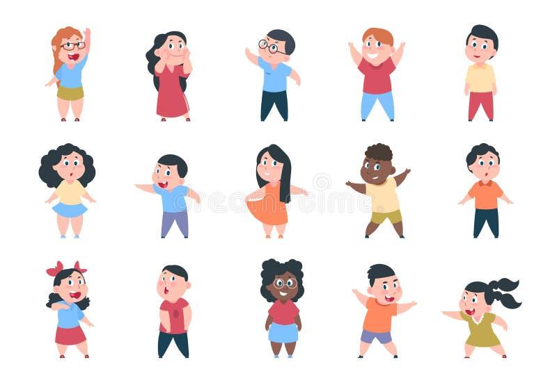 vektor för illustrationer för födelsedagtecknad filmbarn Pojke- och flickaskolatecken, lyckligt litet barn, grundskolagrupp Vekto royaltyfri illustrationer