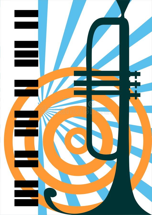 vektor för illustrationpianotrumpet royaltyfri illustrationer