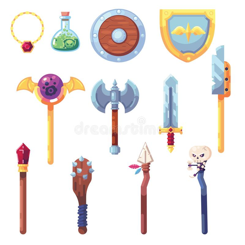 Vektor för inventarium för kulturföremål för saker för gift för personal för trollstav för svärd för pilbåge för byte för byte fö vektor illustrationer