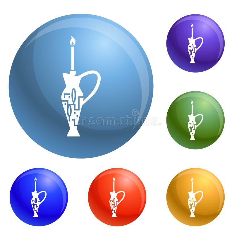 Vektor för judiska symboler för för stearinljuspinne och tillbringare fastställd vektor illustrationer