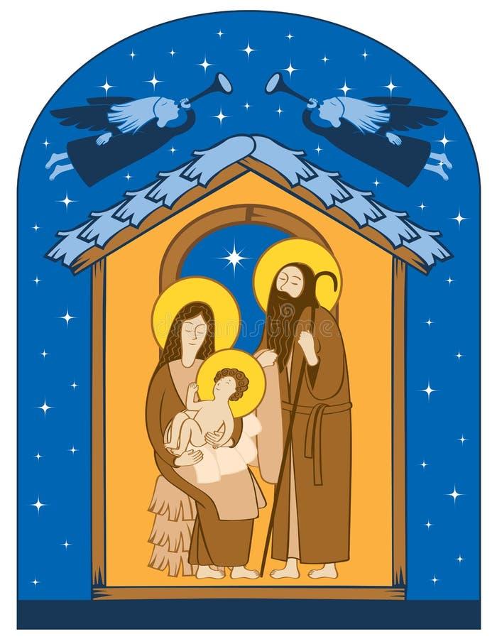 vektor för julillustrationjulkrubba Helig familj och änglar stock illustrationer