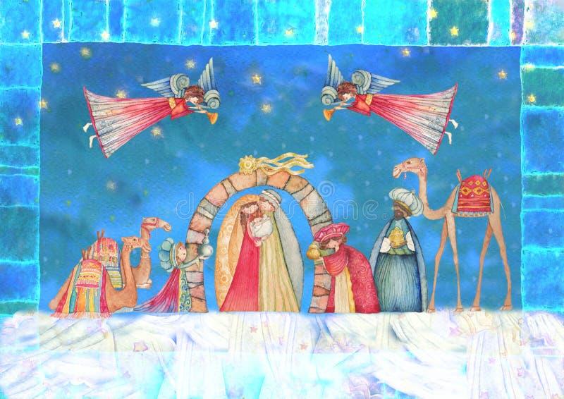 vektor för julillustrationjulkrubba Jesus Mary, Joseph stock illustrationer