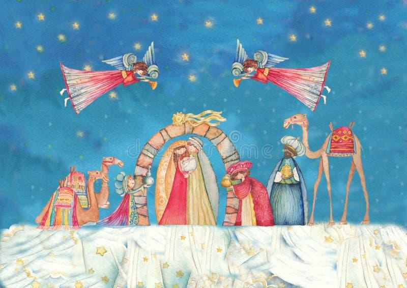 vektor för julillustrationjulkrubba Jesus Mary, Joseph royaltyfri illustrationer