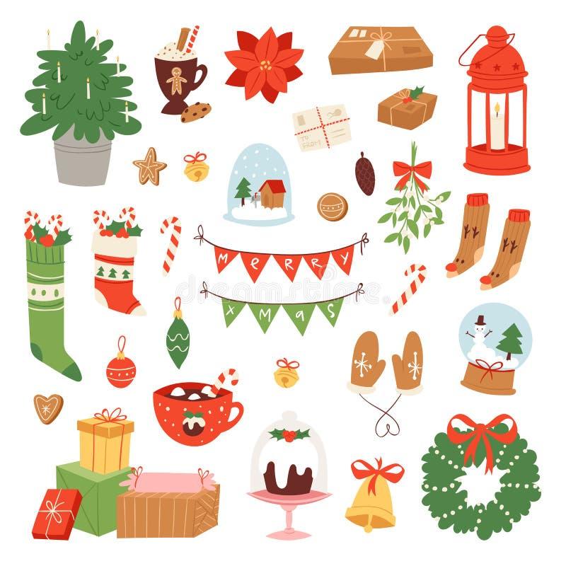 Vektor för julsymbolssymboler för för berömgarnering för nytt år illustration vektor illustrationer