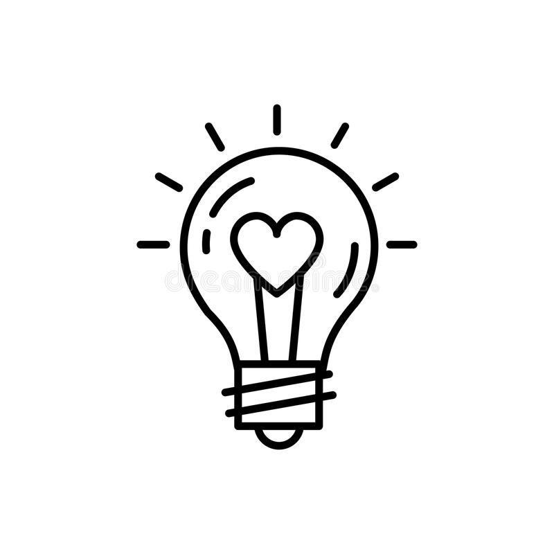 Vektor för känslor för symbol för Lightbulbidéförälskelse Tunn linje konstdesign, vektorillustration stock illustrationer
