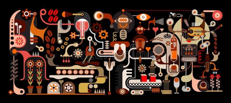 vektor för kaffefabriksillustration stock illustrationer