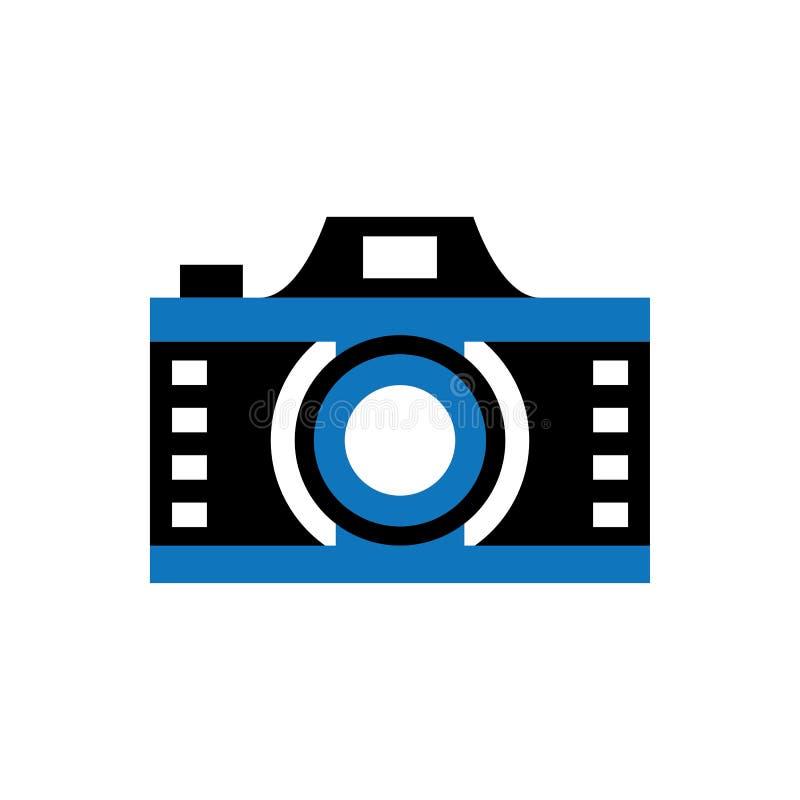 Vektor för kamerafilmLens blå logo royaltyfri illustrationer