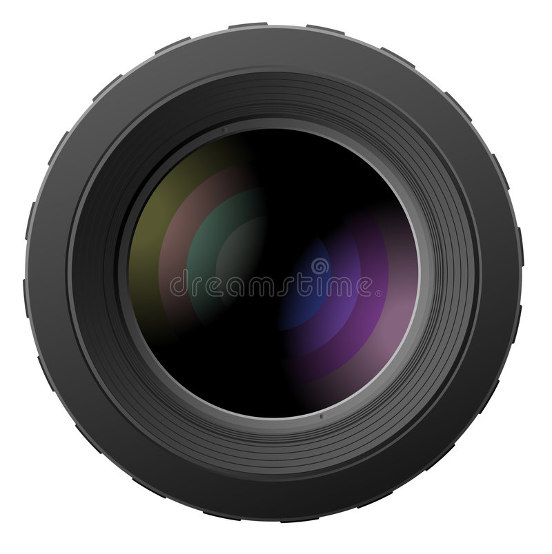 vektor för kameraillustrationlinser stock illustrationer