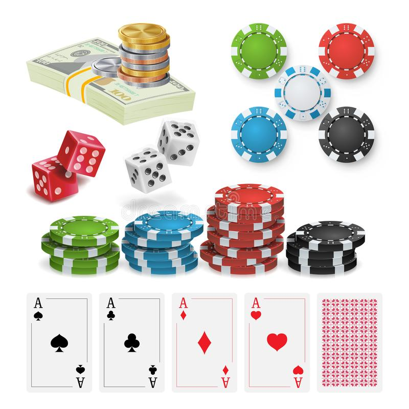 Vektor för kasinodesignbeståndsdelar Pokerchiper som spelar kort, skitar isolerad knapphandillustration skjuta s-startkvinnan royaltyfri illustrationer