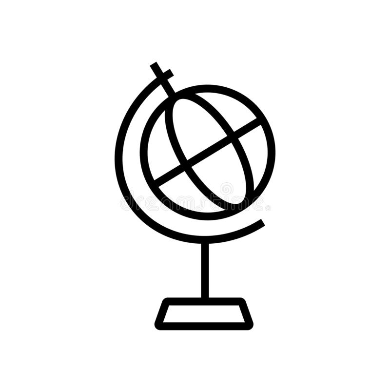 Vektor för klassrumjordklotsymbol som in isoleras på det vita bakgrunds-, klassrumjordklottecknet, linjärt symbol och slaglängdde royaltyfri illustrationer
