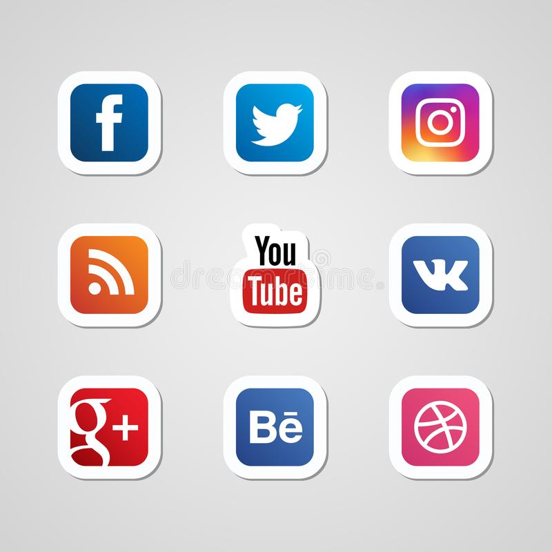 Vektor för klistermärkear för sociala massmediasymboler fastställd vektor illustrationer