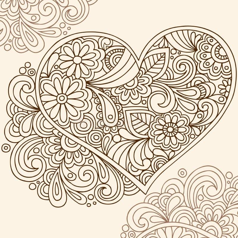 vektor för klotterhjärtahenna stock illustrationer