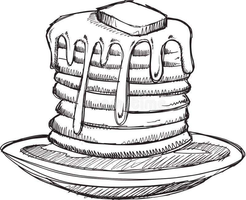 Vektor för klotterpannkakafrukost stock illustrationer