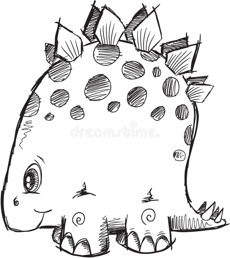 Vektor för klotterStegosaurusdinosaurie royaltyfri illustrationer