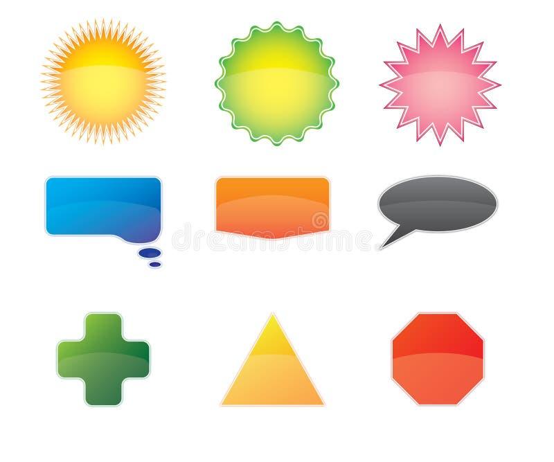vektor för knappsymbolspacke stock illustrationer
