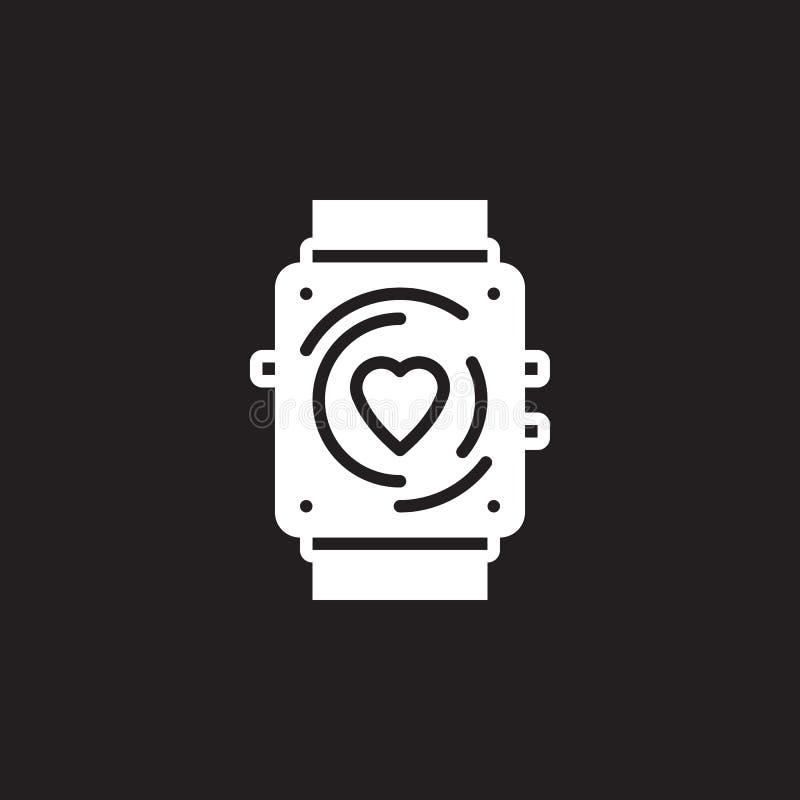 Vektor för konditionbogseraresymbol, tecken för smartwatchheltäckandelägenhet, pictogram som isoleras på svart royaltyfri illustrationer