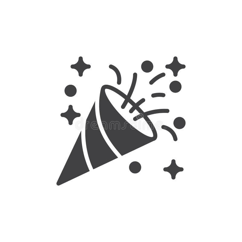 Vektor för konfettipopcornapparatsymbol, fyllt plant tecken, fast pictogram som isoleras på vit royaltyfri illustrationer