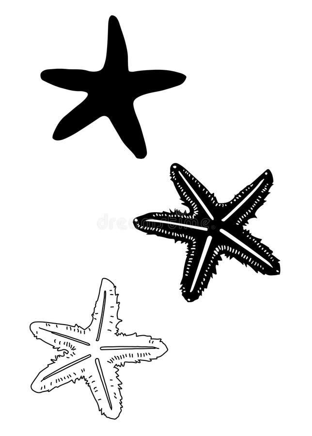 Vektor för konst för gem för stjärnafiskkontur royaltyfri foto
