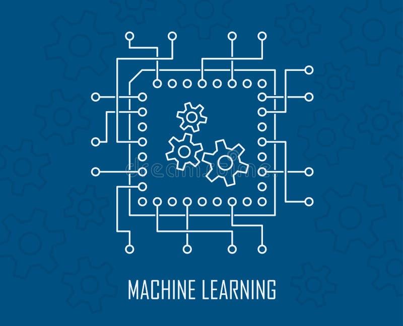 Vektor för konstgjord intelligens för lära för maskin stock illustrationer