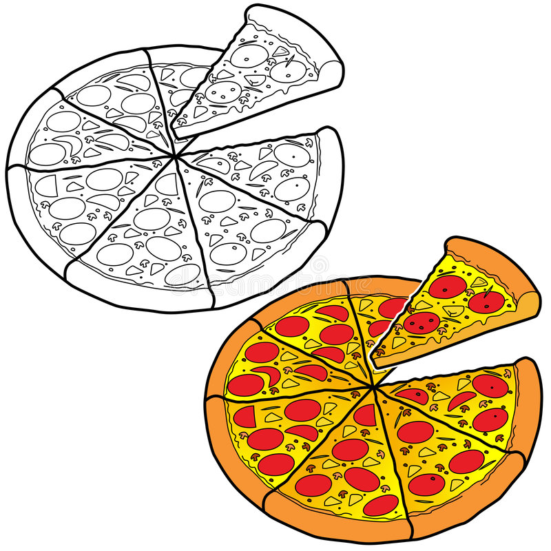 vektor för konstpeperonipizza vektor illustrationer
