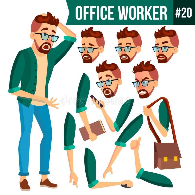 Vektor för kontorsarbetare Framsidasinnesrörelser, gester Animeringuppsättning isolerad man för bakgrund affär över white Yrkesmä stock illustrationer