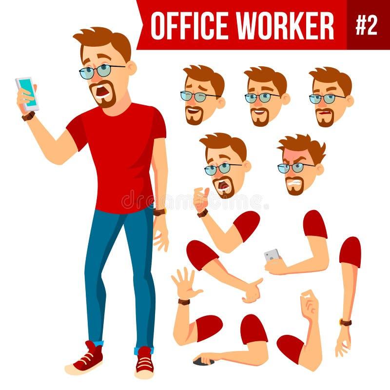 Vektor för kontorsarbetare Framsidasinnesrörelser, olika gester Animeringskapelseuppsättning Affärsman Human Modernt kabinett stock illustrationer