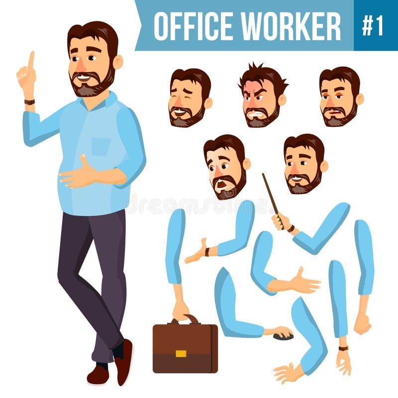 Vektor för kontorsarbetare Framsidasinnesrörelser, olika gester Animeringskapelseuppsättning Företags affärsman Male lyckat royaltyfri illustrationer