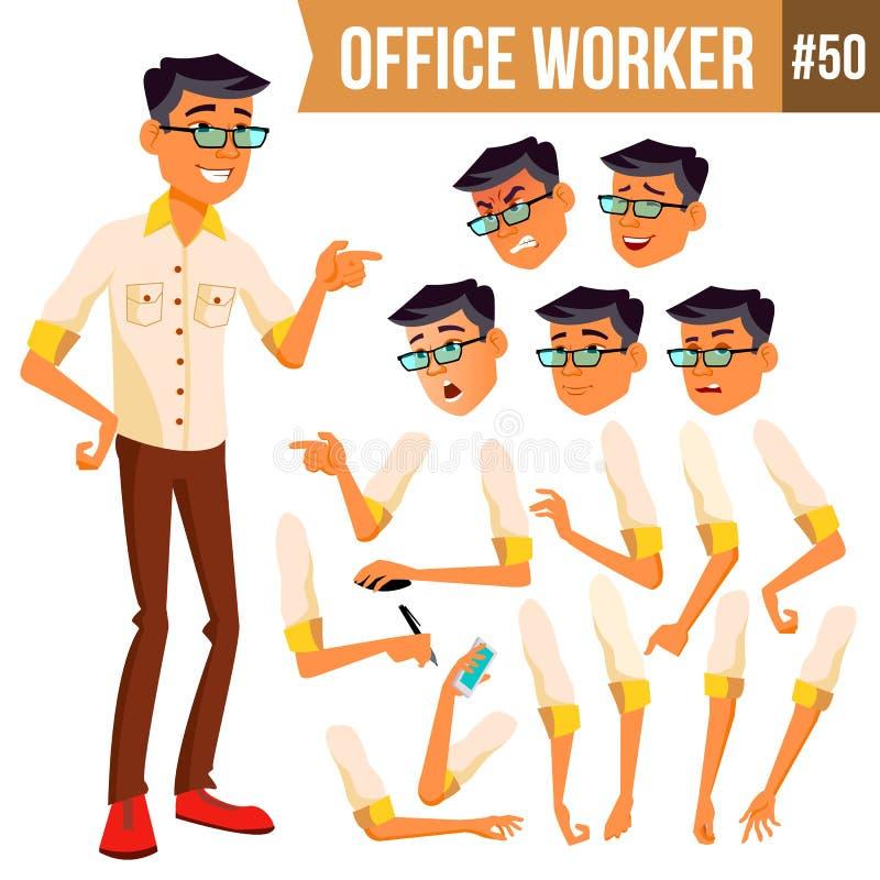 Vektor för kontorsarbetare Korean som är thailändsk, vietnames Framsidasinnesrörelser, olika gester djur Affärsman Human modernt vektor illustrationer