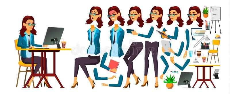 Vektor för kontorsarbetare Kvinna Framsidasinnesrörelser, olika gester Sekreterare revisor Animeringskapelseuppsättning isolerat stock illustrationer
