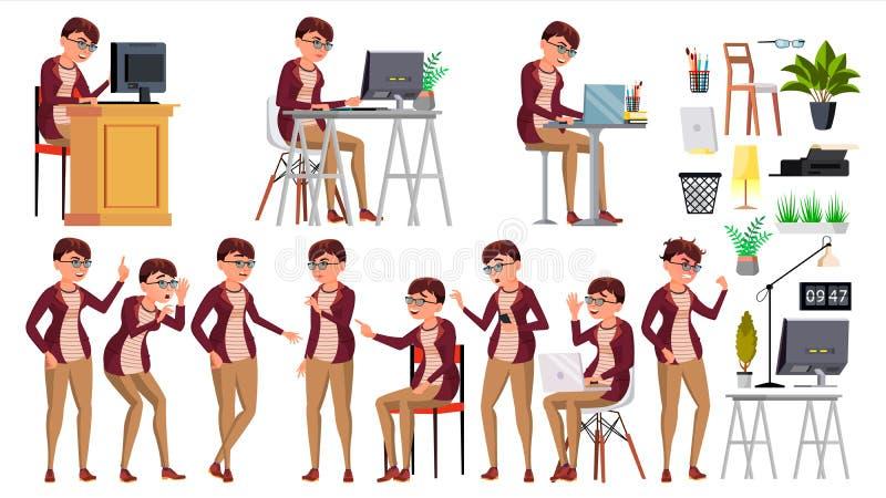 Vektor för kontorsarbetare Kvinna Lyckad tjänsteman, kontorist, tjänare Affärskvinnaarbetare Framsidasinnesrörelser, olika gester stock illustrationer