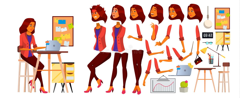 Vektor för kontorsarbetare Kvinna Lyckad tjänsteman, kontorist, tjänare Arab arbetare för saudieraffärskvinna Vänd sinnesrörelser stock illustrationer