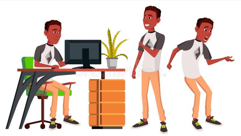 Vektor för kontorsarbetare sinnesrörelser livsstil _ afrikansk stående för person för affärsaffärsmanlycka poserar Framdel sidosi stock illustrationer