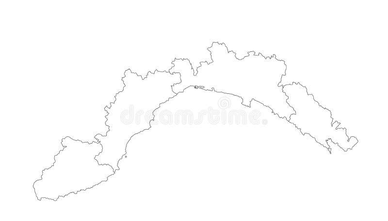 Vektor för kontur för Liguria vektoröversikt Landskap i Italien vektor illustrationer