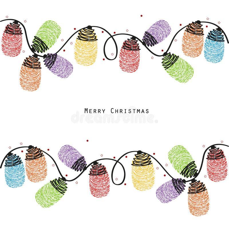 Vektor för kort för hälsning för fingeravtryck för ljus kula för jul färgrik royaltyfri illustrationer