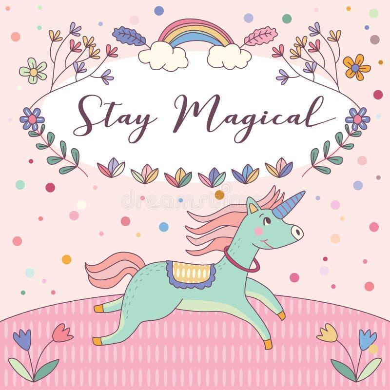 Vektor för kort för hälsning för magiska enhörningar för stag rosa royaltyfri illustrationer