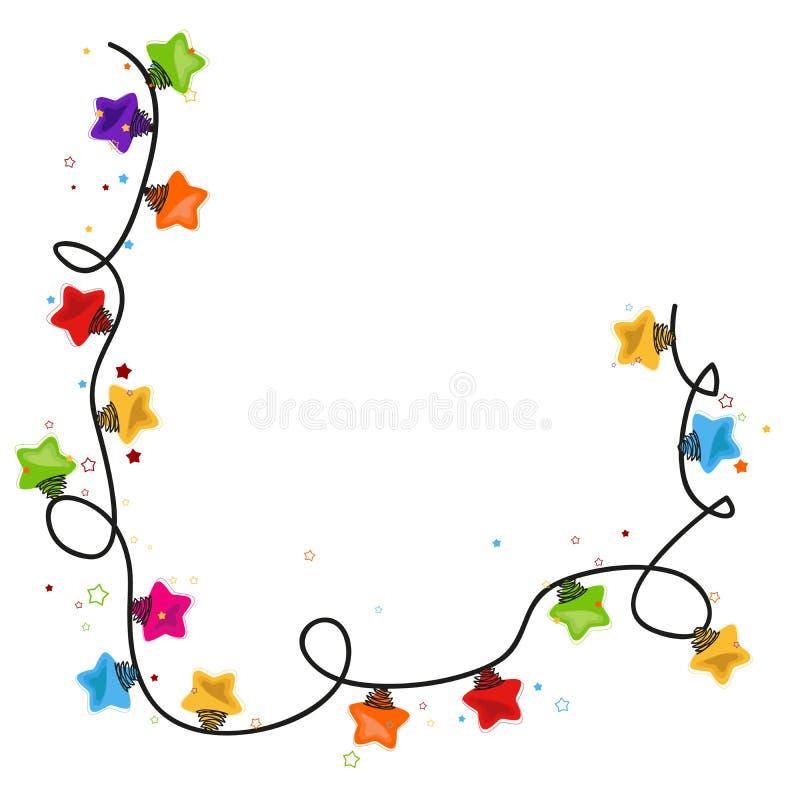 Vektor för kort för hälsning för nytt år för ljus kula för julstjärna stock illustrationer