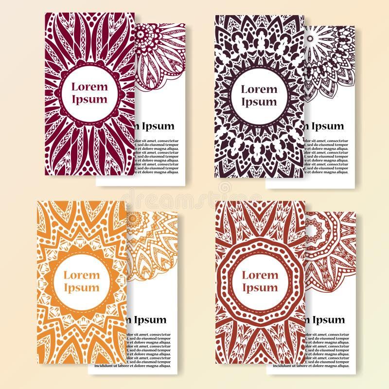 vektor för kortset Den utsmyckade designen kan använt för inbjudan-, hälsning- eller affärskort skriva för mall för designbrandan stock illustrationer