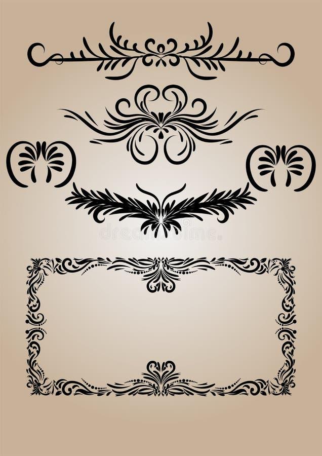 Vektor för krusidullar för tappninggarneringbeståndsdelar Calligraphic vektor illustrationer