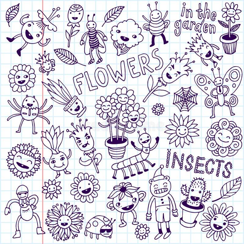 vektor för kryp för designelementblommor abstrakt klotter tecknade blom- inställda handillustrationer Skolaanteckningsbok royaltyfria bilder
